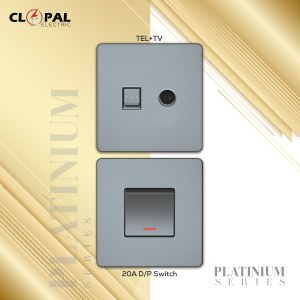 AC switch 20A double pole platinium clopal
