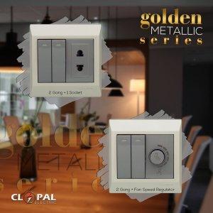 2 switch dimmer socket golden metallic clopal