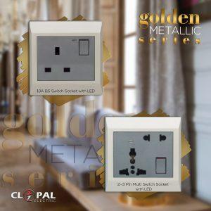 multi function + 2pin golden metallic clopal