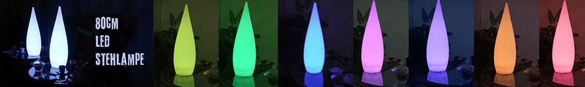 Designer LED Stehlampe, 80cm, kabellos mit Fernbedienung und Farbwechsel