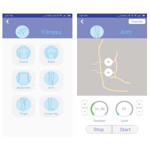 HEE Pad - Apps Einstellungen für Fitness EMS-Massage