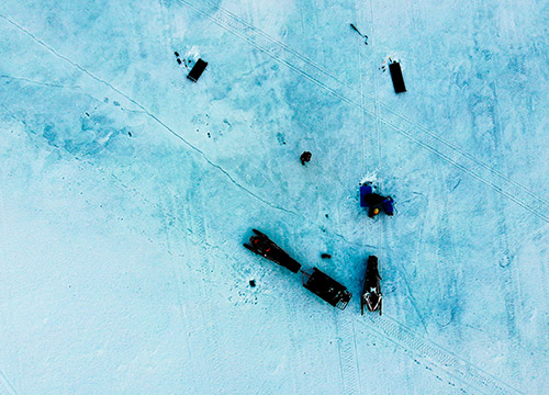Snowmobiles from above