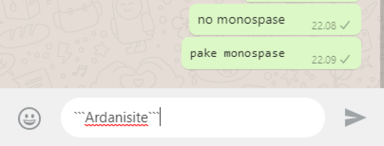 cara membuat text monospase