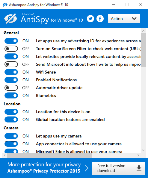 Ashampoo AntiSpy for Windows 10 privacidad