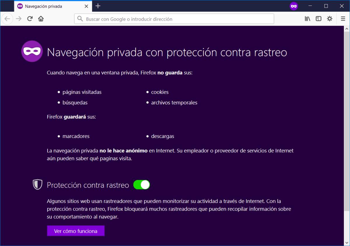Navegación privada de Firefox