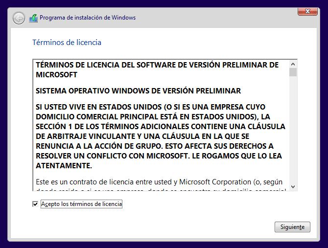 contrato de licencia de Windows 10