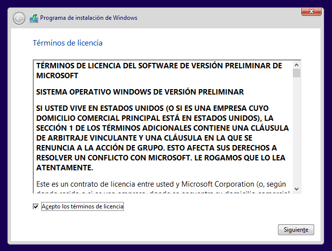contrato de licencia de Windows 10