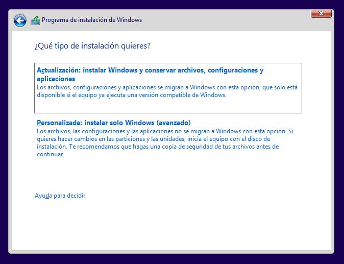 Instalar Windows 10 desde cero.