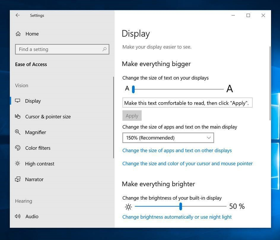 Accesibilidad Windows 10 October 2018 Update