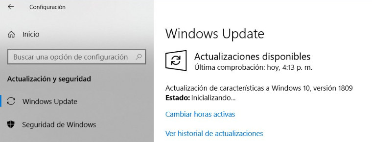 Actualizar a Windows 10 1809