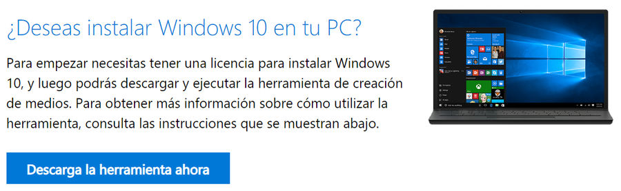 herramienta de instalación de Windows 10