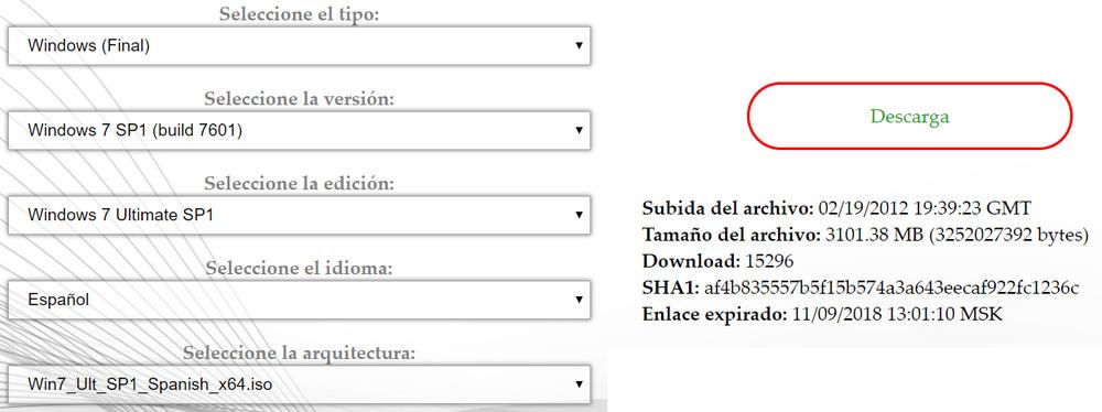 Descargar Windows 7 SP1