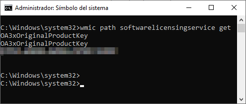 CMD clave de activación de Windows 10