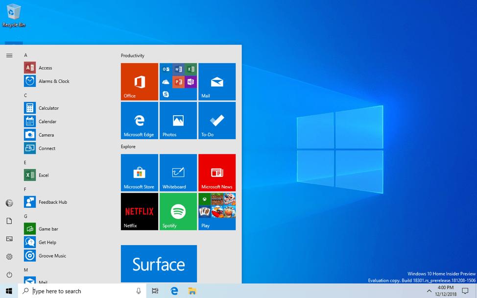 Tema claro Windows 10 1903 19H1