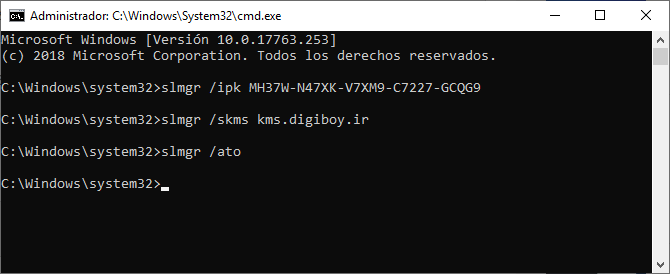 Activar Windows 10 por CMD