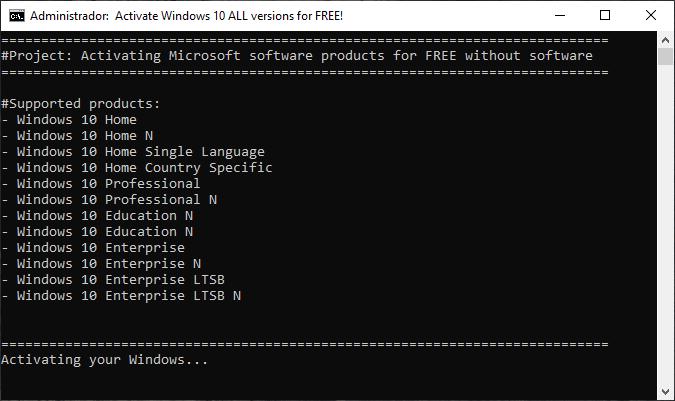CMD activar Windows 10 Pro