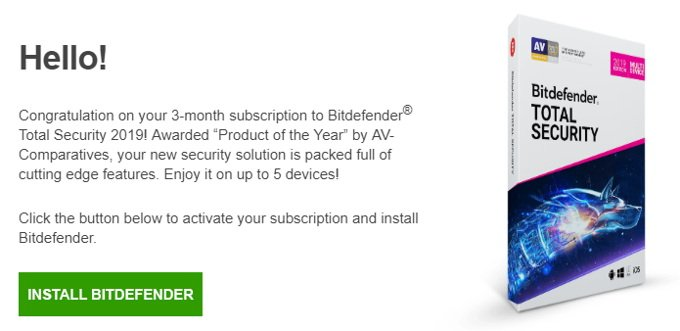 Correo de Bitdefender Total Security 3 meses gratis