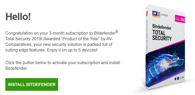 Correo de Bitdefender Total Security 3 meses gratis