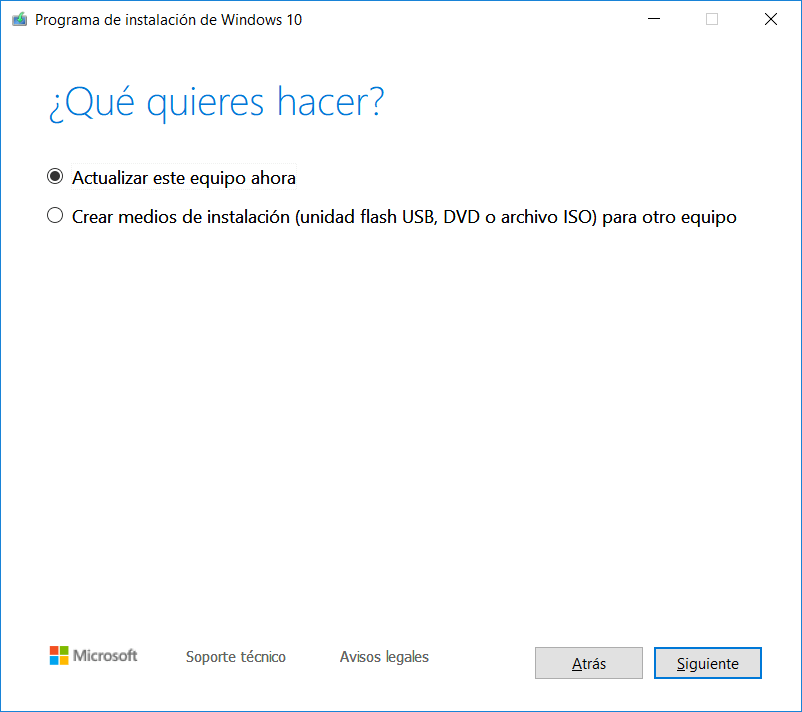 Programa de instalación de Windows 10.