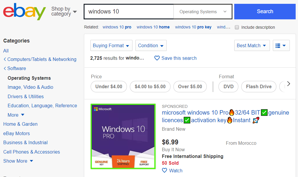 licencia Windows 10 eBay