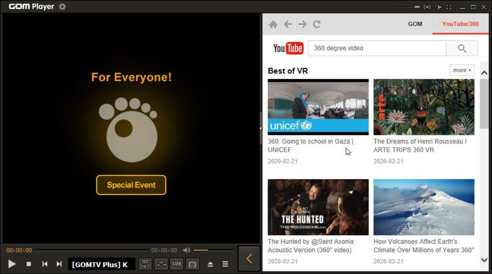 Reproducir videos 360 grados de Youtube con GOM Player
