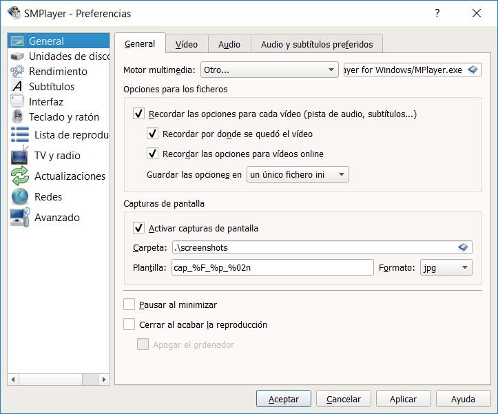 Opciones del reproductor SMPlayer
