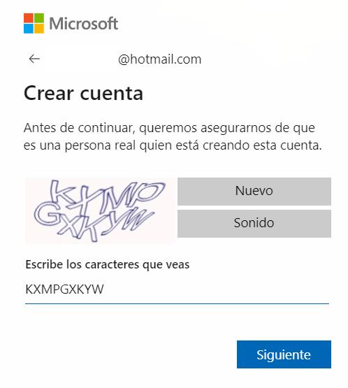 Captcha Correo Microsoft