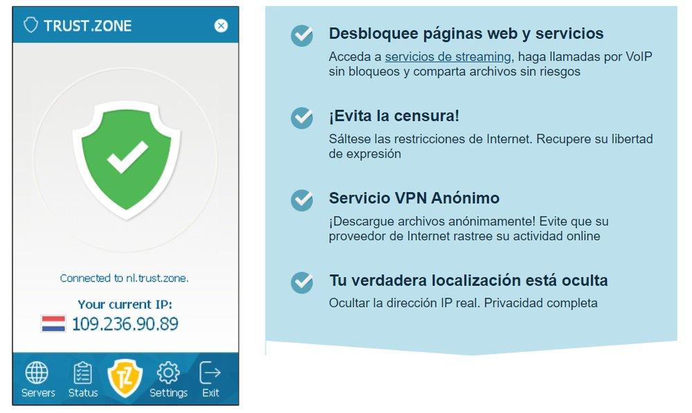 Aplicación VPN Trust.Zone para Android y Windows