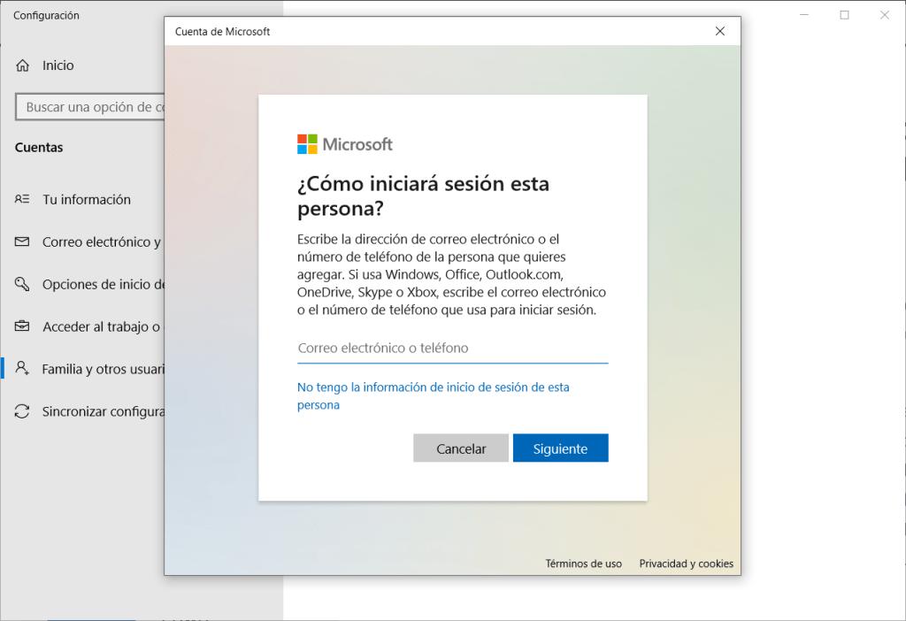 Agregar cuenta de Windows