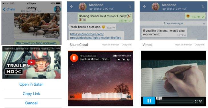 Reproducir videos de Youtube, Twitter, Vimeo, Twitch sin salir de Telegram
