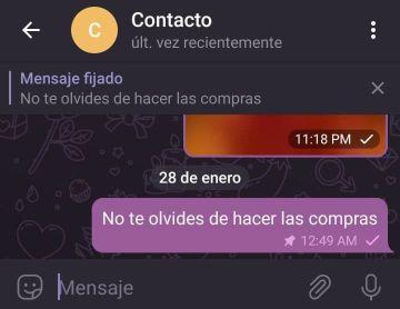 Fijar mensajes en Telegram