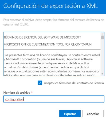 Exportar configuration.XML