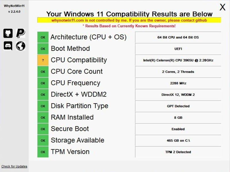 WhyNotWin11 compatibilidad Windows 11