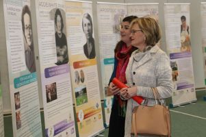 Mairead McGuinness and Maura Hopkins study Our Irish Women history project
