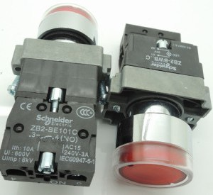 Red ZB2) sets - BW3361C Cinghiatype high quality lampbottone bottone Pulsante knob 24VOLT DC - RED / NC