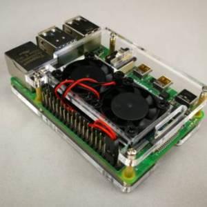Doppia ventola + custodia in acrilico trasparente a 2 strati per Raspberry PI 4