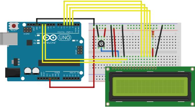 Arduinon LCD-näytön kytkentä koekytkentäalustalle