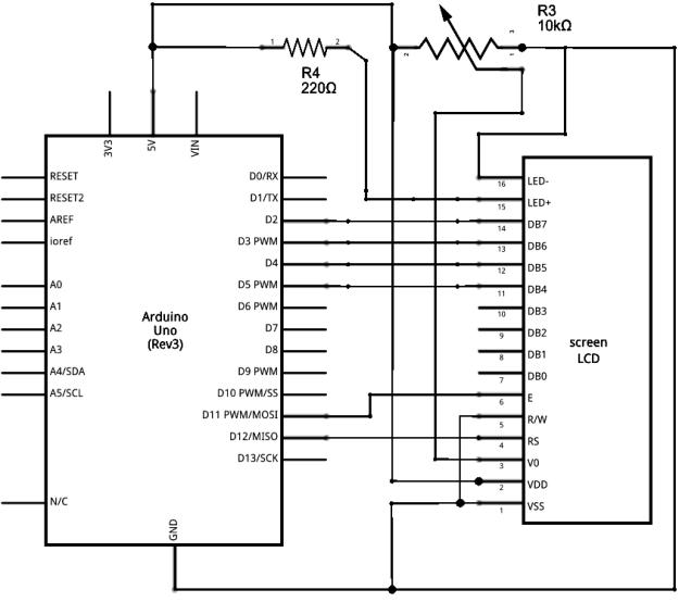 Arduino LCD-näytön kytkentäkaavio