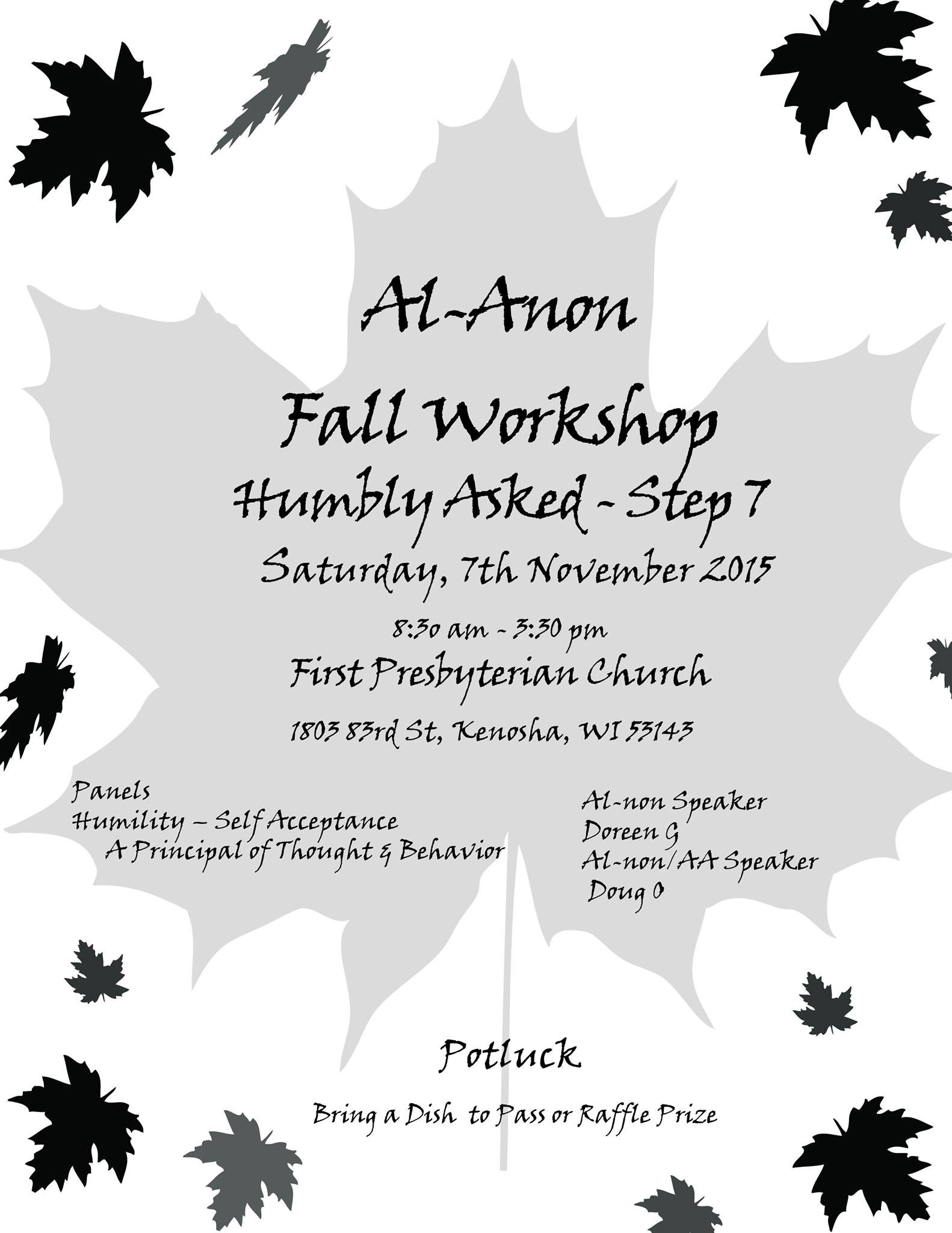 Al Anon Fall Workshop Humbly Asked Step 7