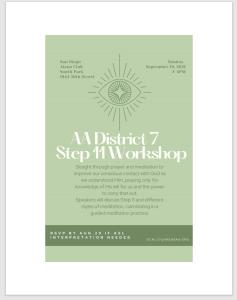 District 07 presents : Step 11 Workshop @ South Park Alano Club, 1944 30th Street