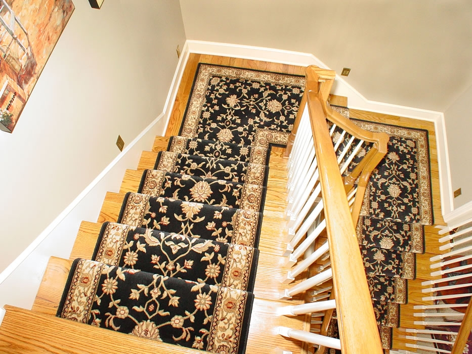 Black Oriental Wool Stair Runner Installed On 2 Landings   Wool Carpet Runners For Stairs   Flooring   Woven   Rectangular Cord Treads   Stair Country Style   Modern
