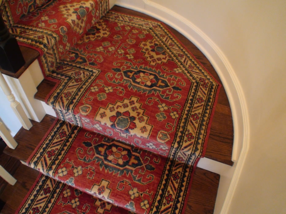 Custom Hand Knotted Oriental Stair Runner Installed On Landing   Oriental Rug Runners For Stairs   Design Stair   Basement Stairs   Area Rugs   Bucks County   Salem Ma