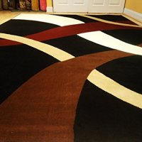 New Modern Black 8x11 Rug Black Wavy 8x10 Carpet Contemporary Rugs 8'x10' Rug 8x11 Black Burgundy Brown and Cream Rug (Large 8x11)