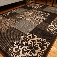 New City Contemporary Modern Flowers Squares Wool Area Rug, 5'2 x 7'3, Brown