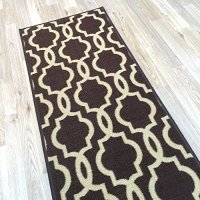 "Rubber Back Non-Slip 21"" x 60"" Fancy Moroccan Trellis Chocolate Brown & Cream Runner Rug - Rana Collection Kitchen Hallway Entry Pet High Traffic Rug RAN2048-25"