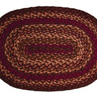 IHF Home Decor Cinnamon Design Braided Oval Rugs Jute Fabric Wine with Sage and Tan Color