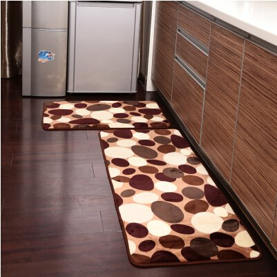 ustide 2piece coffee stone flower kitchen rug set soft rug coral fleece bathroom rug - Rug Sets
