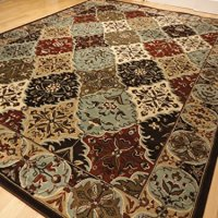 Premium Rug Large 8x11 High Quality Multi-colored Oriental Panel Diamond Design 8x10 Blue Rug Bold Colors Brown Living Room Carpet Dining Room Area Rugs (Large 8'x11')
