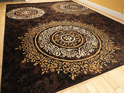Luxury Century Brand New Contemporary Brown And Beige Modern Wavy Circles Area Rug 8 11 Black Modern Rug 5 8 Black Rug Medium 5 X8 Rug Area Rugs Shop