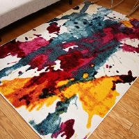 Radiance Art Collection Contemporary Modern Splat Yellow Blue Orange White Wool Area Rug Rugs 6008 2 x 3